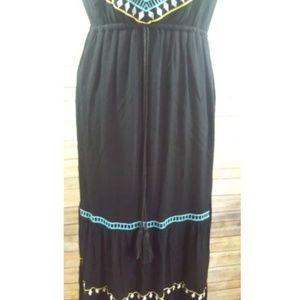 Poof! Dresses - POOF Black BOHO Tribal Sleeveless Maxi Dress